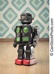 Vintage tin toy robot - Vintage funny tin toy robot on...
