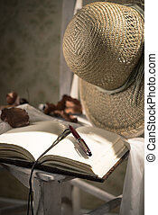 Writer's diary with straw hat - Elegant open book with pen,...