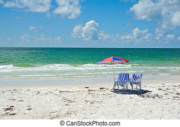 Beach Chairs with Umbrella - Two Beach Chairs with Umbrella...