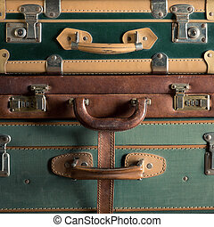 Colorful vintage suitcases - Stack of colorful vintage...