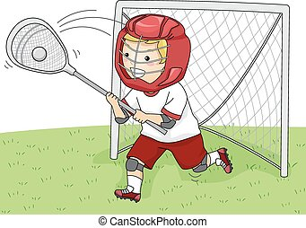 Lacrosse Goalie - Illustration Featuring a Young Lacrosse...