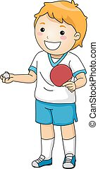 Table Tennis - Illustration Featuring a Young Table Tennis...