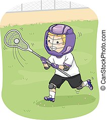 Lacrosse Player - Illustration Featuring a Young Lacrosse...
