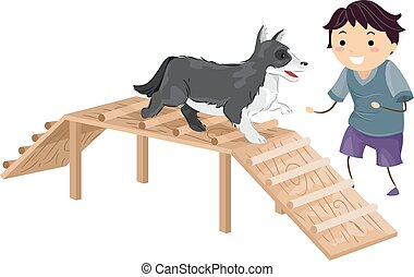 Agile Dog - Illustration Featuring a Boy Performing an...