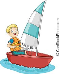 Sailing Boy - Illustration Featuring a Boy on a Sailboat