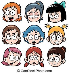Girls faces - Vector illustration of Cartoon Girls faces