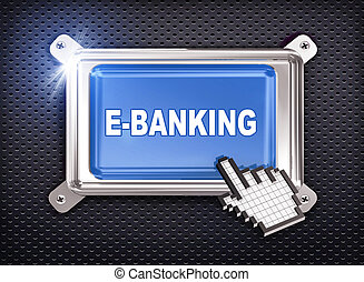 3d button hand cursor - ebanking - 3d illustration of hand...
