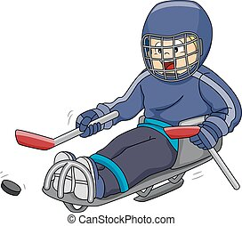 Sledge Hockey - Illustration Featuring a Sledge Hockey...