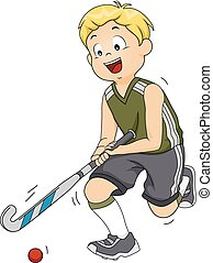 Field Hockey - Illustration Featuring a Field Hockey Player...