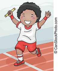 Relay Boy - Illustration Featuring a Boy Winning the Relay...