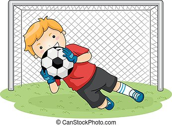 Soccer Goalkeeper - Illustration Featuring a Young...