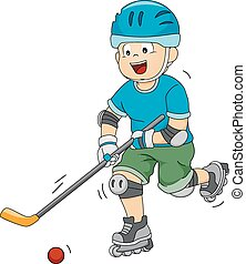 Roller Hockey - Illustration Featuring a Roller Hockey...