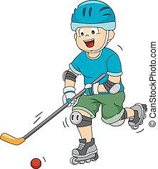 Roller Hockey - Illustration Featuring a Roller Hockey...