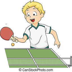 Table Tennis Boy - Illustration Featuring a Boy Playing...