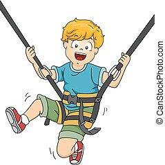 Trampoline Boy - Illustration Featuring a Boy Bouncing Off a...