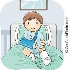 Injured Boy - Illustration Featuring an Injured Boy Wearing...