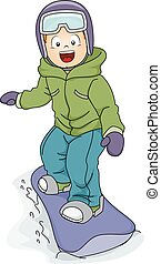 Snowboarding Boy - Illustration Featuring a Boy Snowboarding...