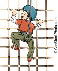Net Climbing - Illustration Featuring a Boy Climbing a Net...