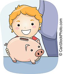 Piggy Bank - Illustration Featuring a Boy Holding a Piggy...