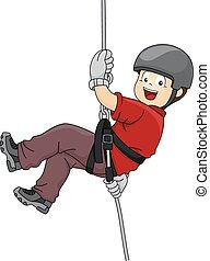 Rappelling Boy - Illustration Featuring a Boy Rappelling...