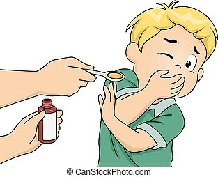 Medicine Time - Illustration Featuring a Boy Refusing to...