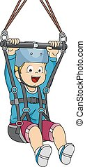 Zipline Boy - Illustration Featuring a Boy Sliding Down a...