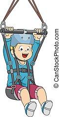 Zipline Boy - Illustration Featuring a Boy Sliding Down a...