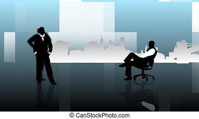 Difeerent silhouttes of the same businessman at work -...
