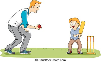 Cricket Game - Illustration Featuring a Father and Son...