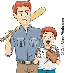 Baseball Bonding - Illustration Featuring a Father and Son...