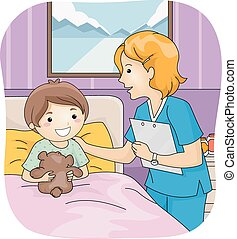 Nurse and Patient - Illustration Featuring a Nurse Attending...