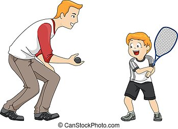 Squash Game - Illustration Featuring a Father and Son...