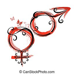 male and female symbol - artistically painted symbols of...