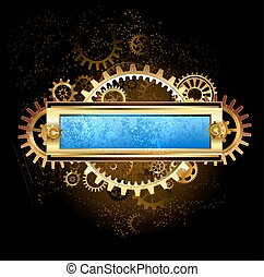 mechanical blue banner - Rectangular banner with gears and...