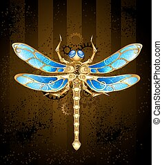 mechanical dragonfly brass and gold with wings decorated...