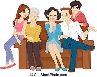 Family Bonding - Illustration Featuring a Family Sitting on...