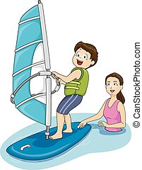 Windsurfing Lessons - Illustration Featuring a Mother Giving...