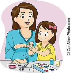 Homemade Accessories - Illustration Featuring a Mother and...