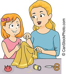 Sewing Lessons - Illustration Featuring a Mother Giving...