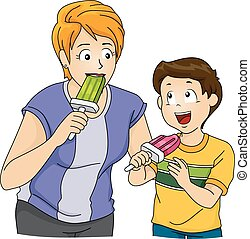 Popsicles - Illustration Featuring a Mother and Son Eating...