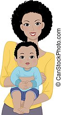 Mother Carrying Baby - Illustration Featuring a Mother...