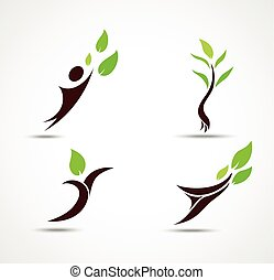Green human ecology icons