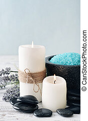 Candles with lavender flowers - Two candles with lavender...