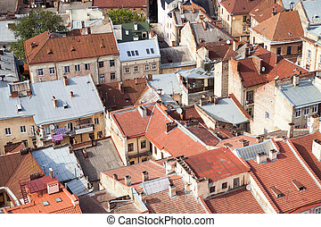 old european city roof from the top of the hill