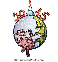 Illustration of fur-tree toy with funny sheep
