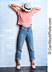 denim classic - Fashion photo of an attractive young woman...