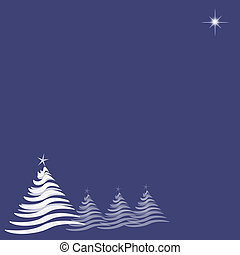 Christmas Trees and Star on Blue Indigo - Abstract...