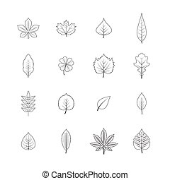 Plant leaves line icons set - Forest trees eco elements line...