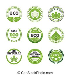 Ecological leaves labels icons set - Ecological green leaves...