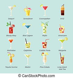 Alcohol Cocktails Icons Flat - Alcohol cocktails icons flat...